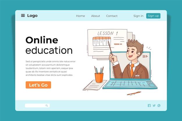 Plantilla de diseño de página de destino de educación en línea