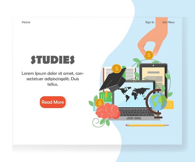 Plantilla de diseño de página de destino del sitio web de educación