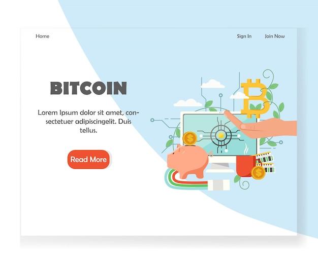 Plantilla de diseño de página de destino de sitio web de inversión bitcoin