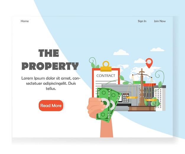 Plantilla de diseño de página de destino del sitio web de propiedad