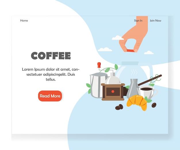 Plantilla de diseño de página de inicio de café