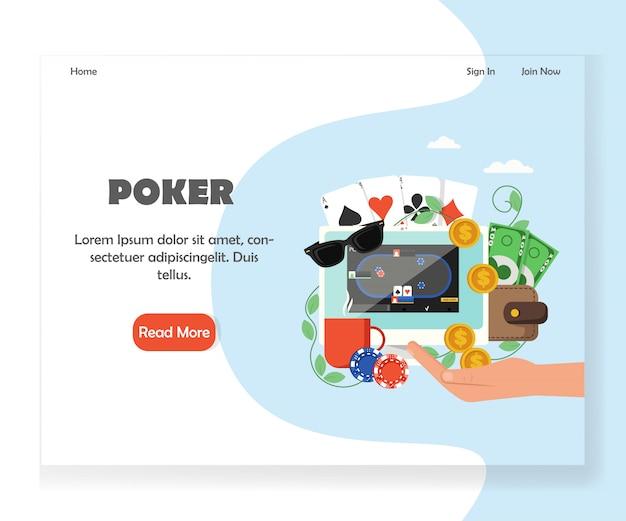 Plantilla de diseño de página de inicio de sitio web de póker en línea
