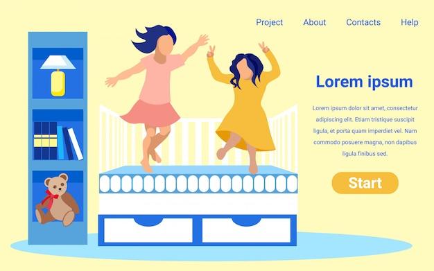 Plantilla de diseño de página de inicio de tienda de colchón de vector plano.