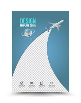 Plantilla de diseño de página de portada con avión de papel.