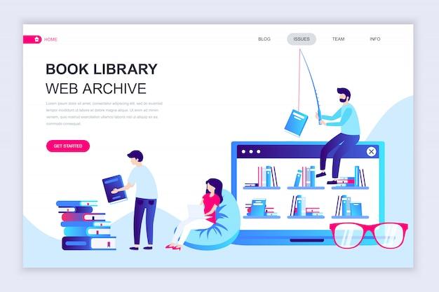 Plantilla de diseño de página web plana moderna de la biblioteca de libros