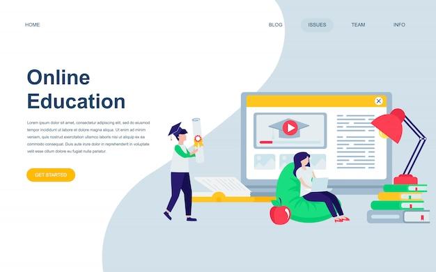 Plantilla de diseño de página web plana moderna de educación en línea