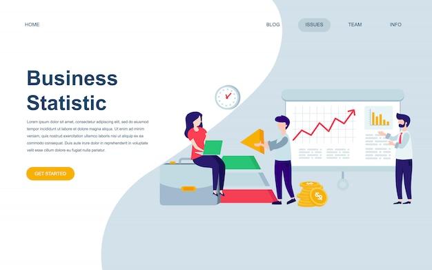 Plantilla de diseño de página web plana moderna de estadística empresarial