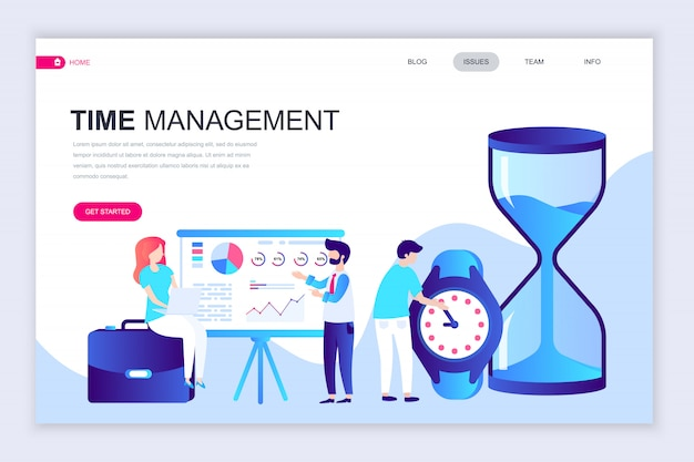 Plantilla de diseño de página web plana moderna de gestión de tiempo