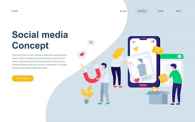 Plantilla de diseño de página web plana moderna de los medios sociales