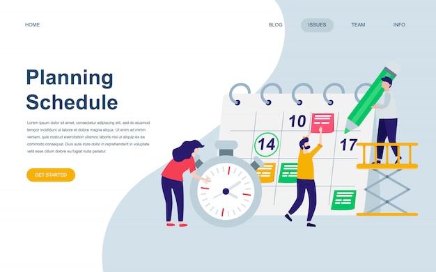 Plantilla de diseño de página web plana moderna de planificación de planificación