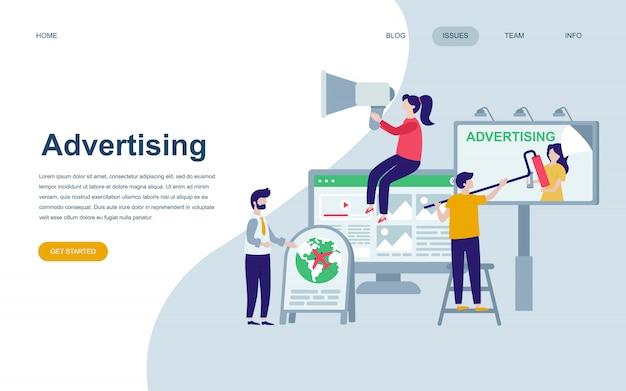 Plantilla de diseño de página web plana moderna de publicidad.