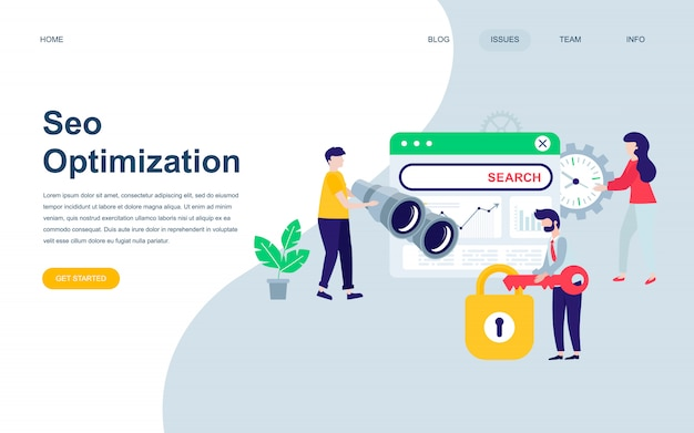 Plantilla de diseño de página web plana moderna de seo analysis