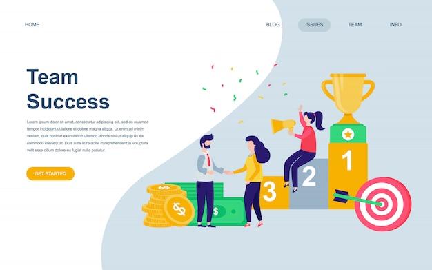 Plantilla de diseño de página web plana moderna de team success