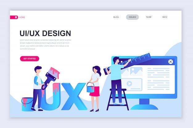 Plantilla de diseño de página web plana moderna de ux, diseño de interfaz de usuario