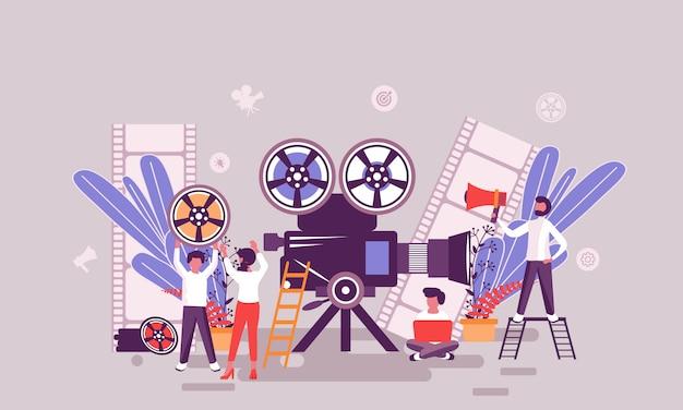 Plantilla de diseño de página web plana de página de inicio de producción de video