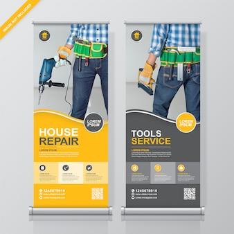 Plantilla de diseño de pancarta de herramientas de construcción y banner de pie