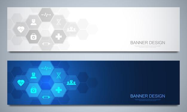 Plantilla de diseño de pancartas para decoración médica y sanitaria.
