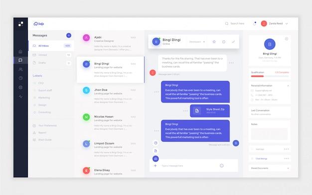 Plantilla de diseño de panel de correo electrónico para diseño de interfaz de usuario ux