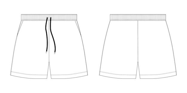 Plantilla de diseño de pantalones cortos deportivos de boceto técnico. ilustración de vector de moda