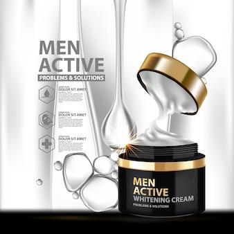 Plantilla de diseño de paquete de crema blanqueadora para hombres.