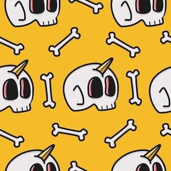 Plantilla de diseño de patrón de calavera de dibujos animados kawaii doodle