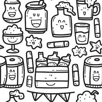 Plantilla de diseño de patrón de doodle de cerveza de dibujos animados