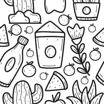Plantilla de diseño de patrón de doodle de dibujos animados abstractos