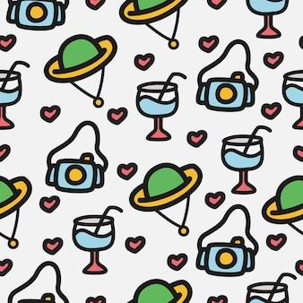 Plantilla de diseño de patrón de doodle de dibujos animados kawaii