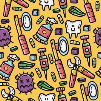 Plantilla de diseño de patrón kawaii de doodle de dibujos animados de dentista