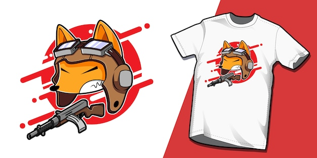 Plantilla de diseño de personaje de camiseta japonesa kamikaze fox