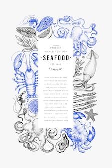 Plantilla de diseño de pescados y mariscos.