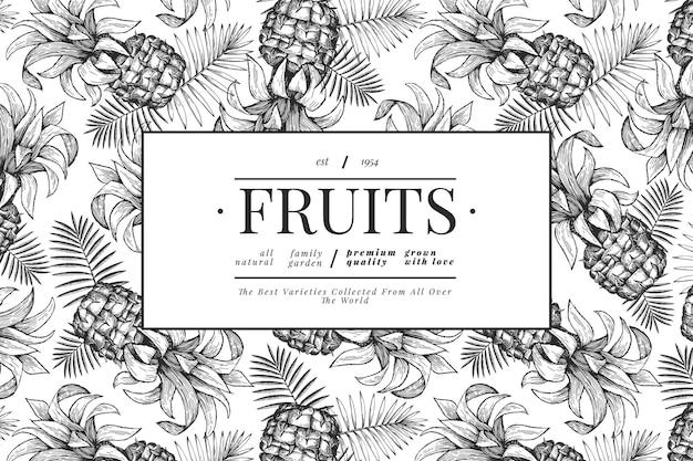 Plantilla de diseño de piñas y hojas tropicales. ilustración de frutas tropicales de vector dibujado a mano. bandera de fruta de ananas de estilo grabado. marco botánico vintage.