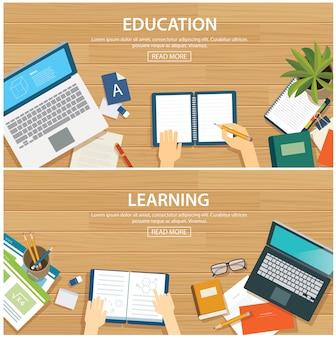 Plantilla de diseño plano de banner de educación y aprendizaje.