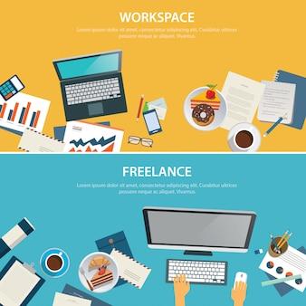 Plantilla de diseño plano de banner de espacio de trabajo y freelance