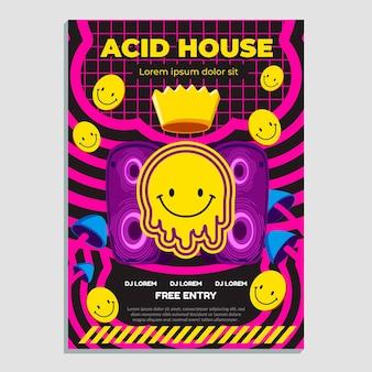 Plantilla de diseño plano de cartel de emoji ácido