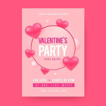 Plantilla de diseño plano de cartel de fiesta de san valentín