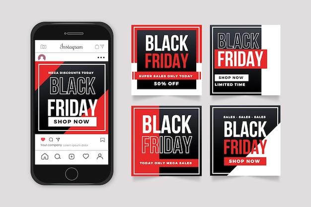 Plantilla de diseño plano colección de publicaciones de instagram de viernes negro