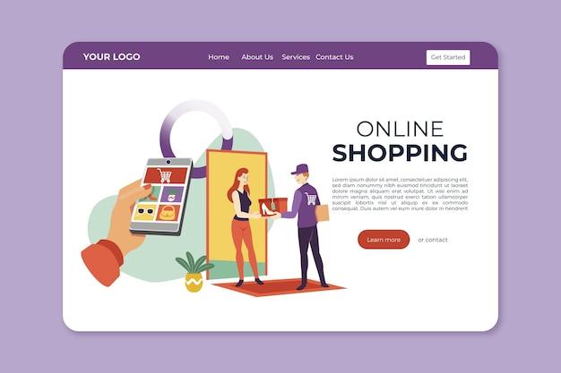 Plantilla de diseño plano compras página de inicio en línea