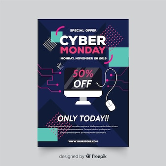 Plantilla de diseño plano cyber lunes flyer