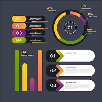 Plantilla de diseño plano de elementos de infografía
