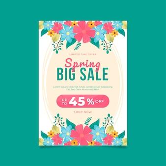 Plantilla de diseño plano de flyer de venta floral de primavera