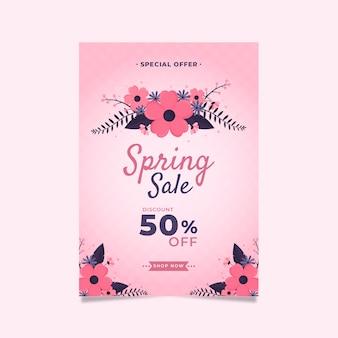 Plantilla de diseño plano de flyer de venta de primavera con flores rosas
