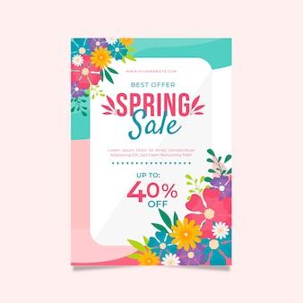 Plantilla de diseño plano de folleto de venta de primavera con descuentos