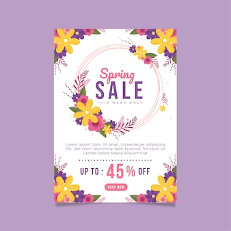 Plantilla de diseño plano de folleto de venta de primavera con marco floral circular