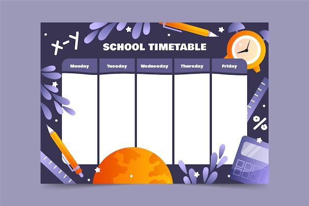 Plantilla de diseño plano de horario de regreso a la escuela