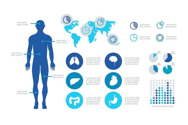 Plantilla de diseño plano infografía médica
