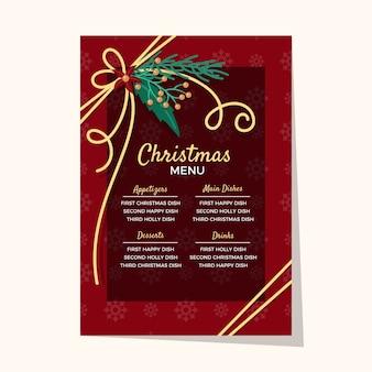 Plantilla de diseño plano de menú de navidad