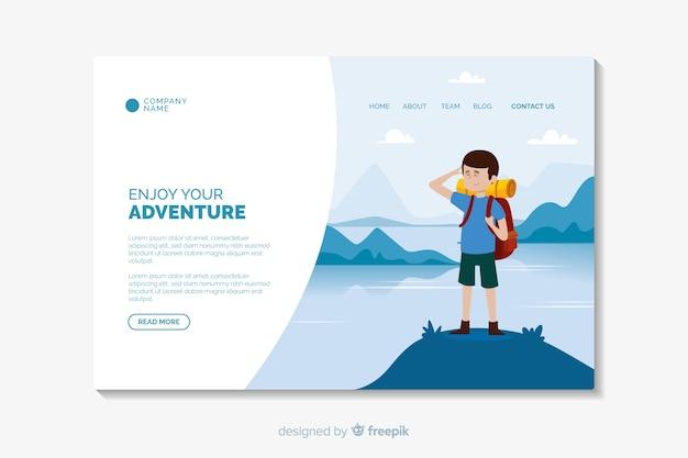 Plantilla de diseño plano de página de aterrizaje de aventura