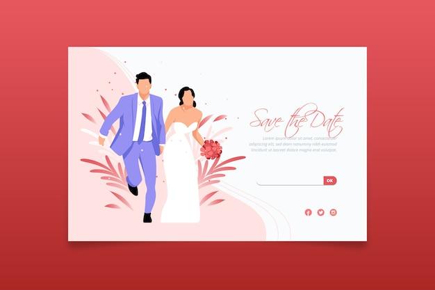 Plantilla de diseño plano de página de aterrizaje de boda