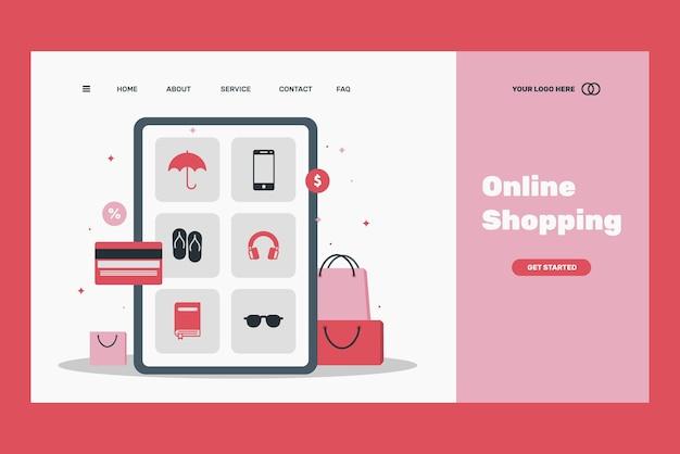 Plantilla de diseño plano página de aterrizaje de compras en línea